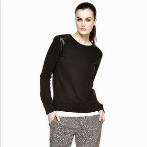 Vince Faux Leather Trim Sweatshirt in Black